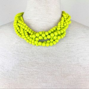 Yellow Green Statement Necklace With Extender EUC